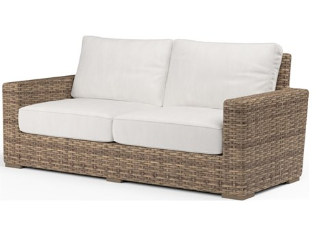 Sunset West Quick Ship Havana Wicker Loveseat in Canvas Flax