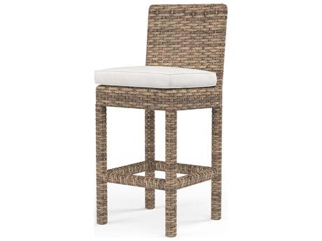 Sunset West Quick Ship Havana Wicker Barstool in Canvas Flax