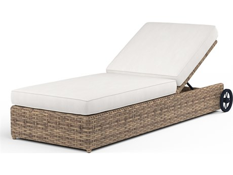 Sunset West Quick Ship Havana Wicker Adjustable Chaise Lounge in Canvas Flax