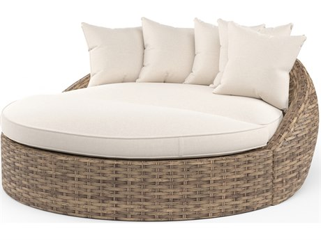 Sunset West Havana Quick Ship Wicker Lounge Round Daybed in Canvas Flax