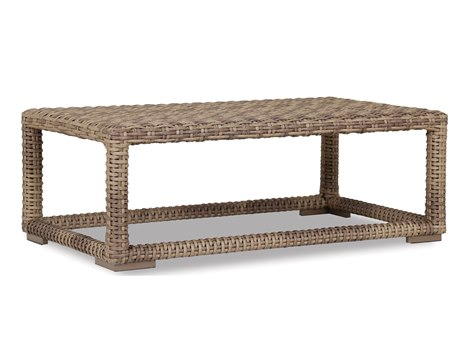Sunset West Quick Ship Havana Wicker 53 x 31 Rectangular Coffee Table