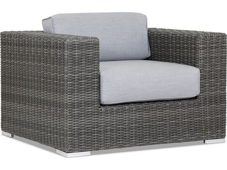 Sunset West Quick Ship Emerald II Wicker Lounge Chair in Canvas Granite with Self Welt