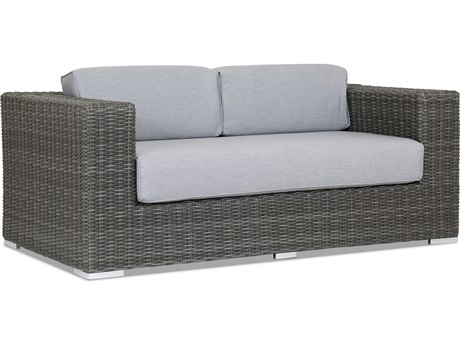 Sunset West Quick Ship Emerald II Wicker Loveseat in Canvas Granite with Self Welt