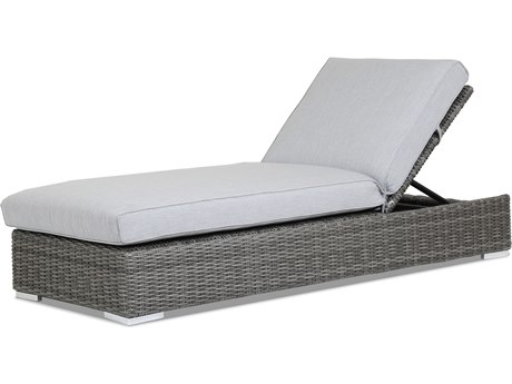 Sunset West Quick Ship Emerald II Wicker Adjustable Chaise Lounge in Canvas Granite with Self Welt
