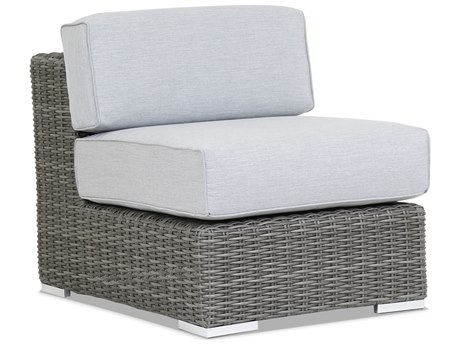 Sunset West Quick Ship Emerald II Wicker Armless Lounge in Canvas Granite with Self Welt