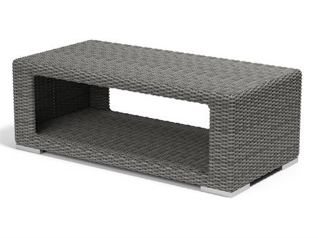 Sunset West Quick Ship Emerald II Wicker 50''W x 28.5''D Rectangular Coffee Table
