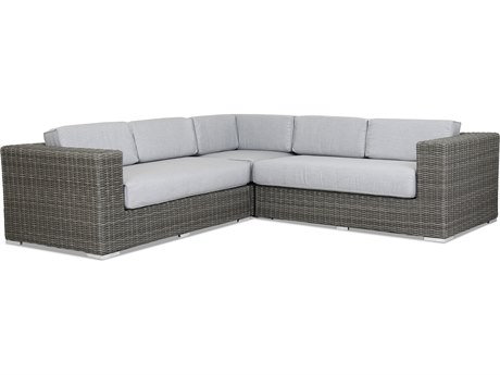 Sunset West Quick Ship Emerald II Wicker Sectional in Canvas Granite with Self Welt