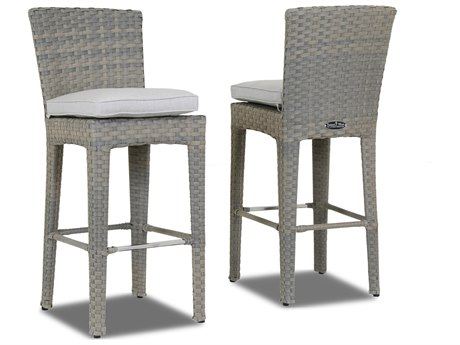 Sunset West Quick Ship Majorca Wicker Barstool in Cast Silver