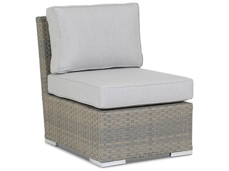 Sunset West Quick Ship Majorca Wicker Armless Lounge Chair in Cast Silver