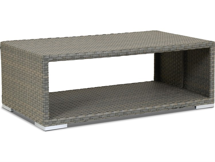 Sunset West Quick Ship Majorca Wicker 50 x 28 Rectangular Coffee Table PatioLiving