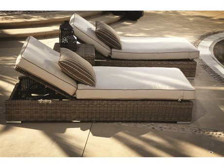 Sunset West Quick Ship Coronado Wicker Adjustable Chaises with End Table