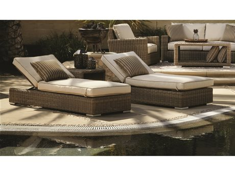 Sunset West Coronado Wicker Adjustable Chaises with End Table