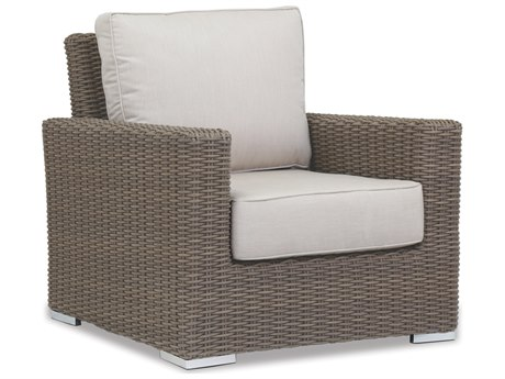 Sunset West Quick Ship Coronado Wicker Lounge Chair in Canvas Flax with Self Welt