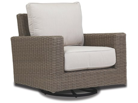 Sunset West Quick Ship Coronado Wicker Swivel Rocker in Canvas Flax with Self Welt