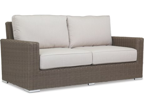 Sunset West Quick Ship Coronado Wicker Loveseat in Canvas Flax with Self Welt