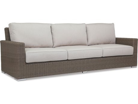 Sunset West Quick Ship Coronado Wicker Sofa in Canvas Flax with Self Welt