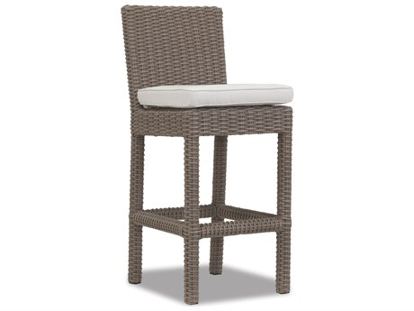 Sunset West Quick Ship Coronado Wicker Bar Stool in Canvas Flax with Self Welt