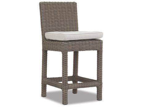 Sunset West Quick Ship Coronado Wicker Counter Stool in Canvas Flax with Self Welt