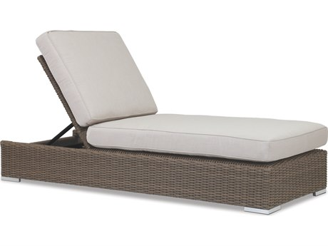 Sunset West Quick Ship Coronado Wicker Chaise Lounge in Canvas Flax with Self Welt