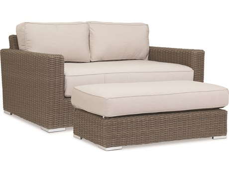 Sunset West Quick Ship Coronado Wicker Double Chaise Lounge in Canvas Flax with Self Welt