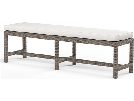 Sunset West Quick Ship Coronado Wicker Dining Bench in Canvas Flax with Self Welt
