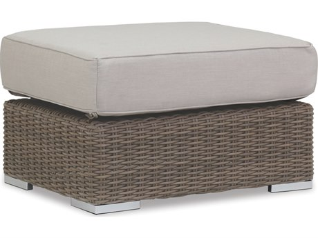 Sunset West Quick Ship Coronado Wicker Ottoman in Canvas Flax with Self Welt