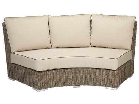 Sunset West Quick Ship Coronado Wicker Curved Loveseat in Canvas Flax with Self Welt