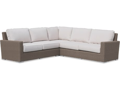 Sunset West Quick Ship Coronado Wicker Sectional in Canvas Flax with Self Welt