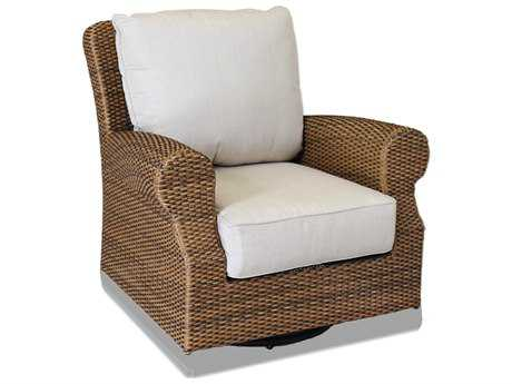 Sunset West Santa Cruz Wicker Swivel Rocking Club Chair