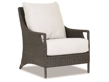 Sunset West Quick Ship Lagos Wicker Lounge Chair in Canvas Flax