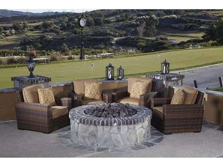 Sunset West Montecito Quick Ship Wicker Fire Pit Lounge Set in in Canvas Flax with Self Welt