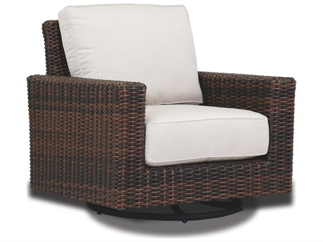 Sunset West Quick Ship Montecito Wicker Swivel Rocker Lounge Chair in Canvas Flax with Self Welt