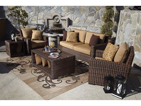 Sunset West Montecito Wicker Loveseat with Club Chairs and Tables