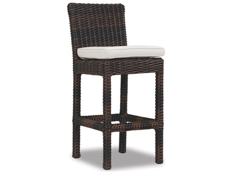 Sunset West Quick Ship Montecito Wicker Bar Stool in Canvas Flax with Self Welt