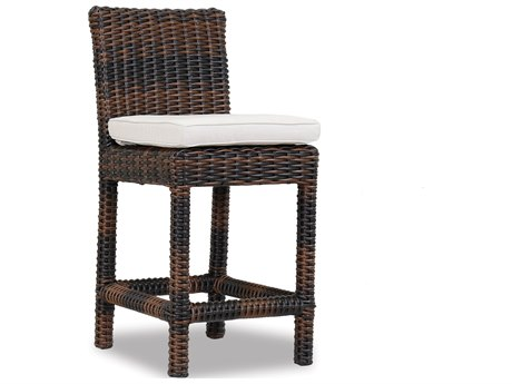 Sunset West Quick Ship Montecito Wicker Counter Stool in Canvas Flax with Self Welt
