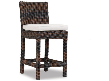 Montecito Wicker Counter Stool in Canvas Flax with Self Welt - Custom Options