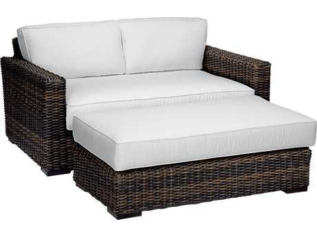 Sunset West Quick Ship Montecito Wicker Loveseat with Ottoman