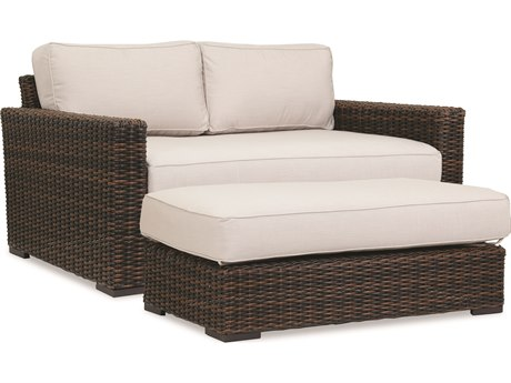 Sunset West Montecito Wicker Loveseat with Ottoman