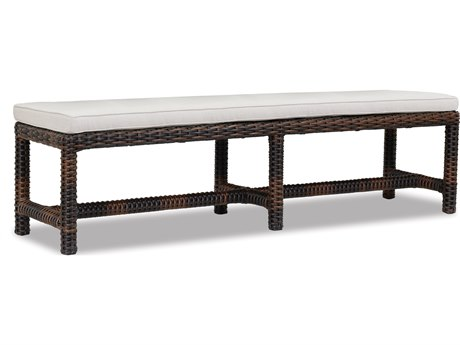 Sunset West Quick Ship Montecito Wicker Dining Bench in Canvas Flax with Self Welt