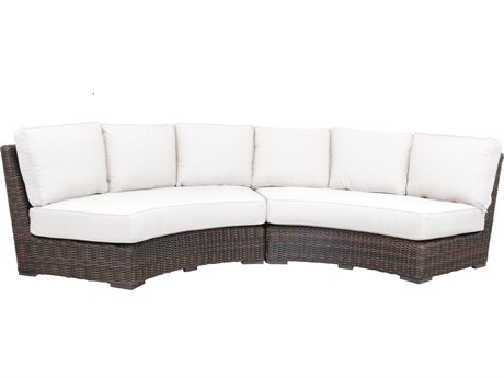 Sunset West Quick Ship Montecito Wicker Curved Loveseat in Canvas Flax with Self Welt