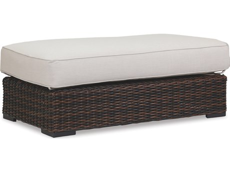 Sunset West Quick Ship Montecito Wicker Double Ottoman in Canvas Flax with Self Welt