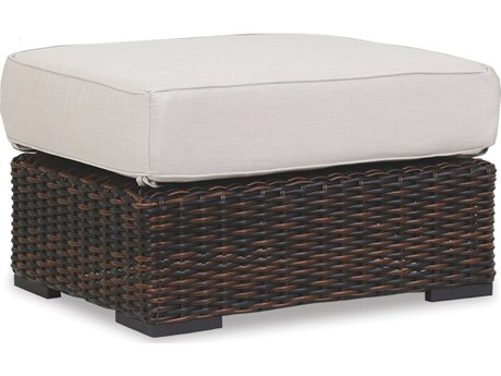 Sunset West Quick Ship Montecito Wicker Ottoman in Canvas Flax with Self Welt