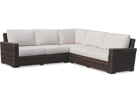 Sunset West Quick Ship Montecito Wicker Sectional in Canvas Flax with Self Welt