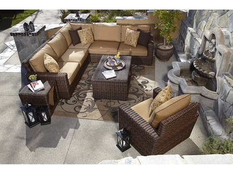 Sunset West Montecito Wicker Sectional with Club Chair and Tables