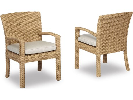 Sunset West Quick Ship Leucadia Wicker Dining Chair in Canvas Flax with Self Welt