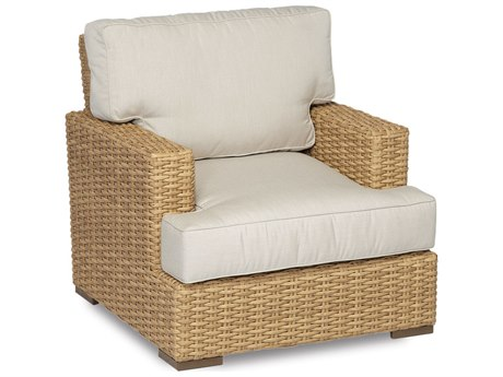 Sunset West Quick Ship Leucadia Wicker Lounge Chair in Canvas Flax with Self Welt