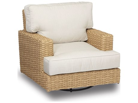Sunset West Quick Ship Leucadia Wicker Swivel Rocking Lounge Chair in Canvas Flax with Self Welt