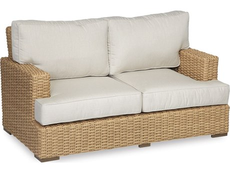 Sunset West Quick Ship Leucadia Wicker Loveseat in Canvas Flax with Self Welt