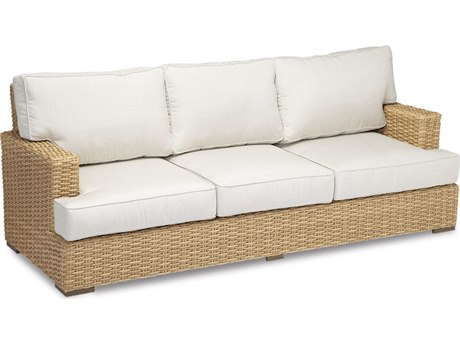 Sunset West Quick Ship Leucadia Wicker Sofa in Canvas Flax with Self Welt
