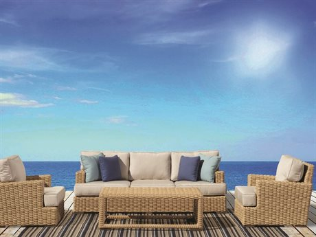 Sunset West Quick Ship Leucadia Wicker Sofa with Club Chairs and Coffee Table